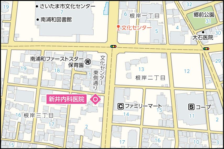 新井内科医院の地図