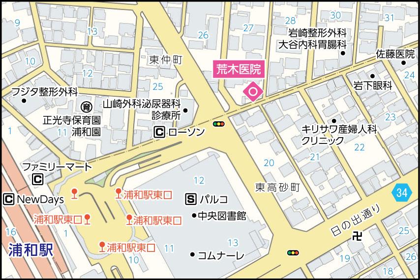 荒木医院の地図