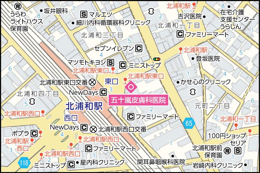 五十嵐皮膚科医院の地図