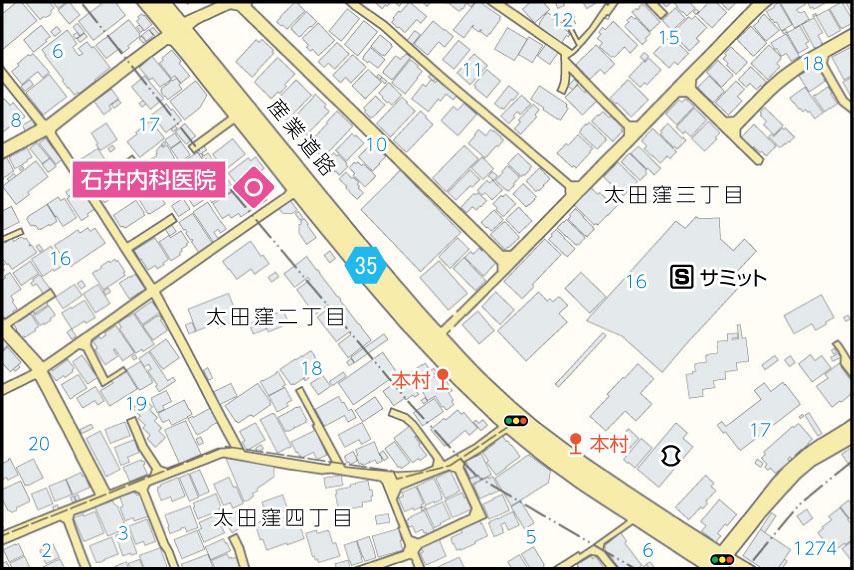 石井内科医院の地図