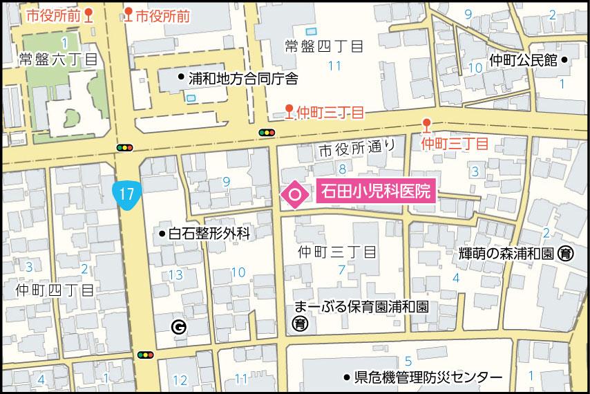 石田小児科医院の地図