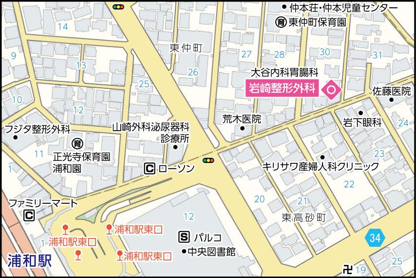 岩崎整形外科の地図