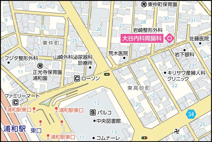 大谷内科胃腸科の地図