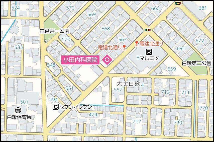 小田内科医院の地図