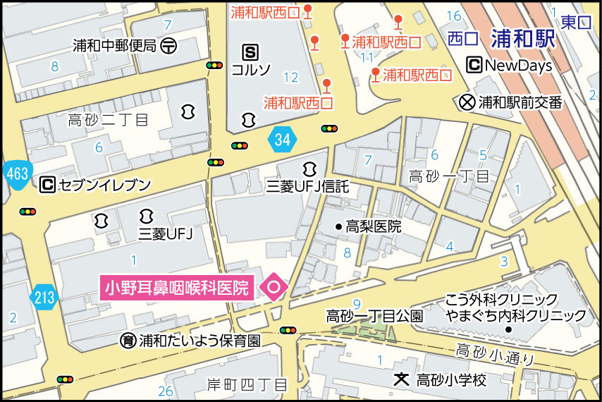 小野耳鼻咽喉科医院の地図
